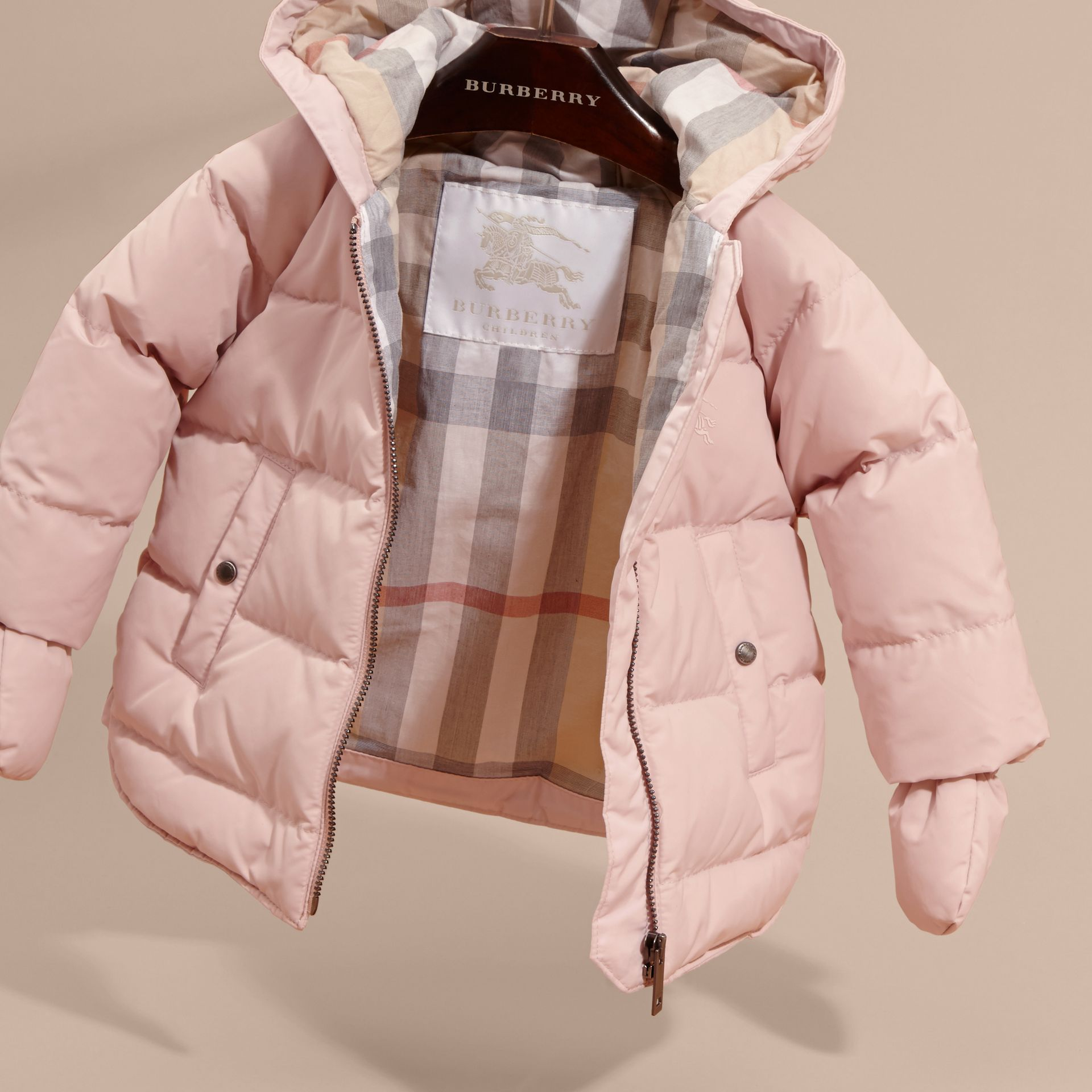 Hooded Down-filled Puffer Jacket with Mittens Powder Pink - gallery image 3