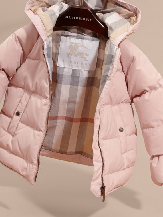 Powder pink Hooded Down-filled Puffer Jacket with Mittens Powder Pink - cell image 2