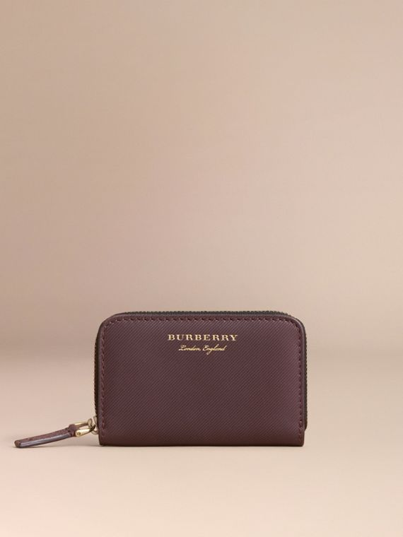 Trench Leather Ziparound Coin Case in Wine - Men | Burberry Australia - cell image 3