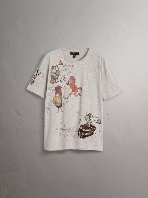 Sketch Print Cotton T-shirt in Pale Grey Melange