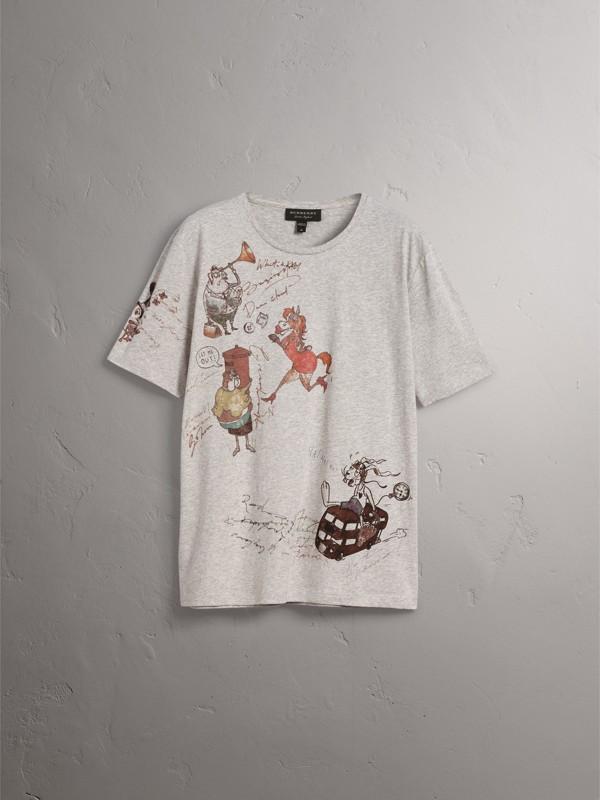 Sketch Print Cotton T-shirt in Pale Grey Melange - Men | Burberry United Kingdom - cell image 3