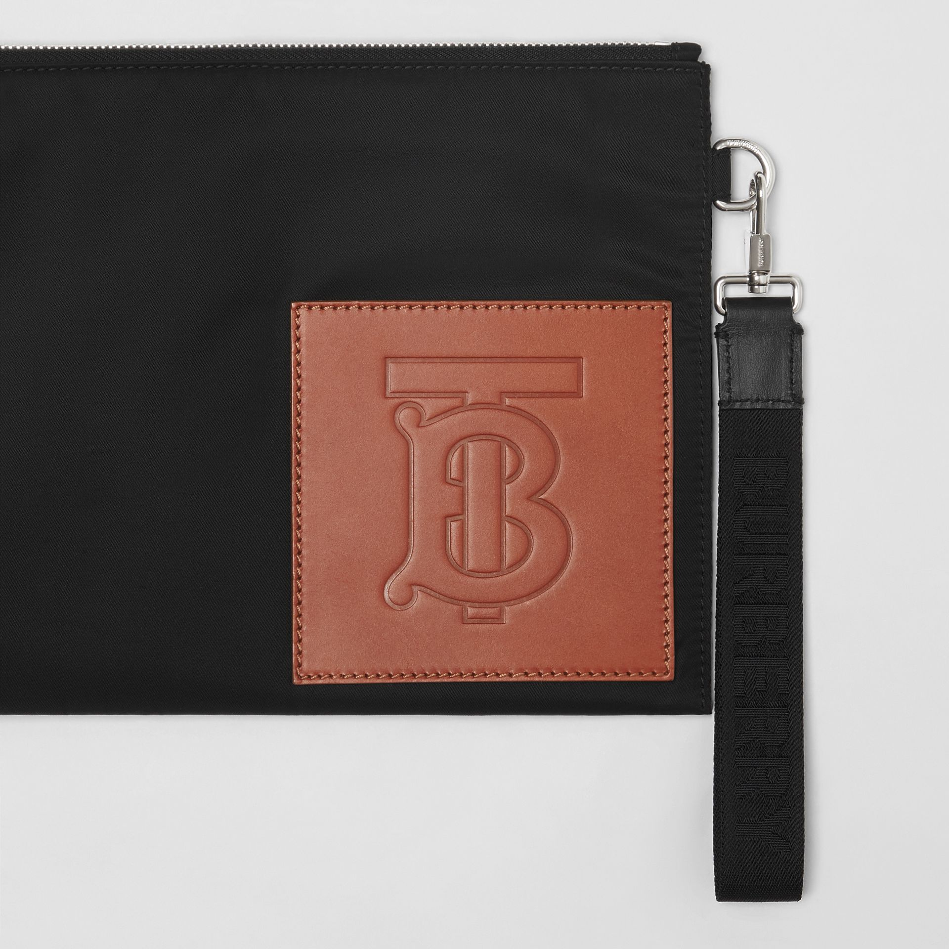 Monogram Motif Zip Pouch in Black | Burberry - gallery image 1