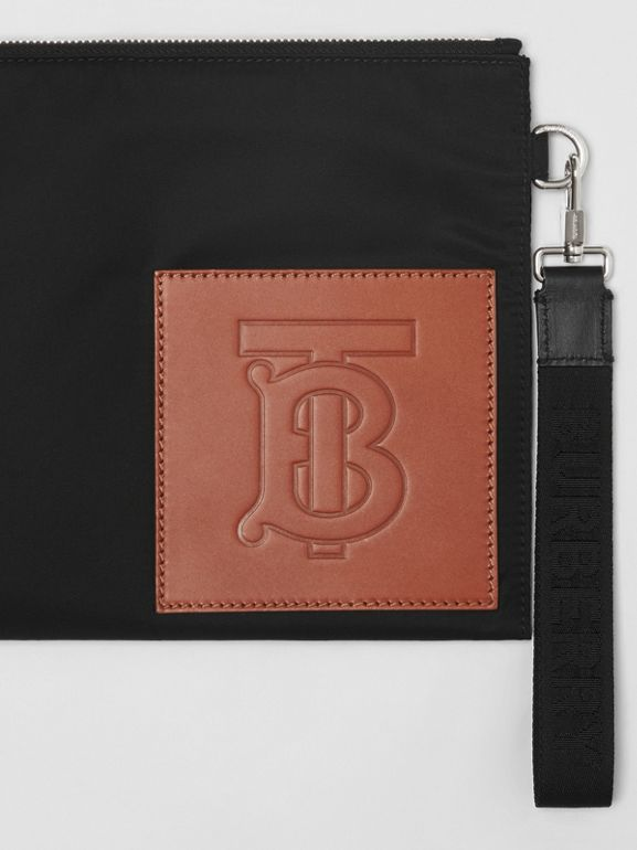 Monogram Motif Zip Pouch in Black | Burberry Australia - cell image 1