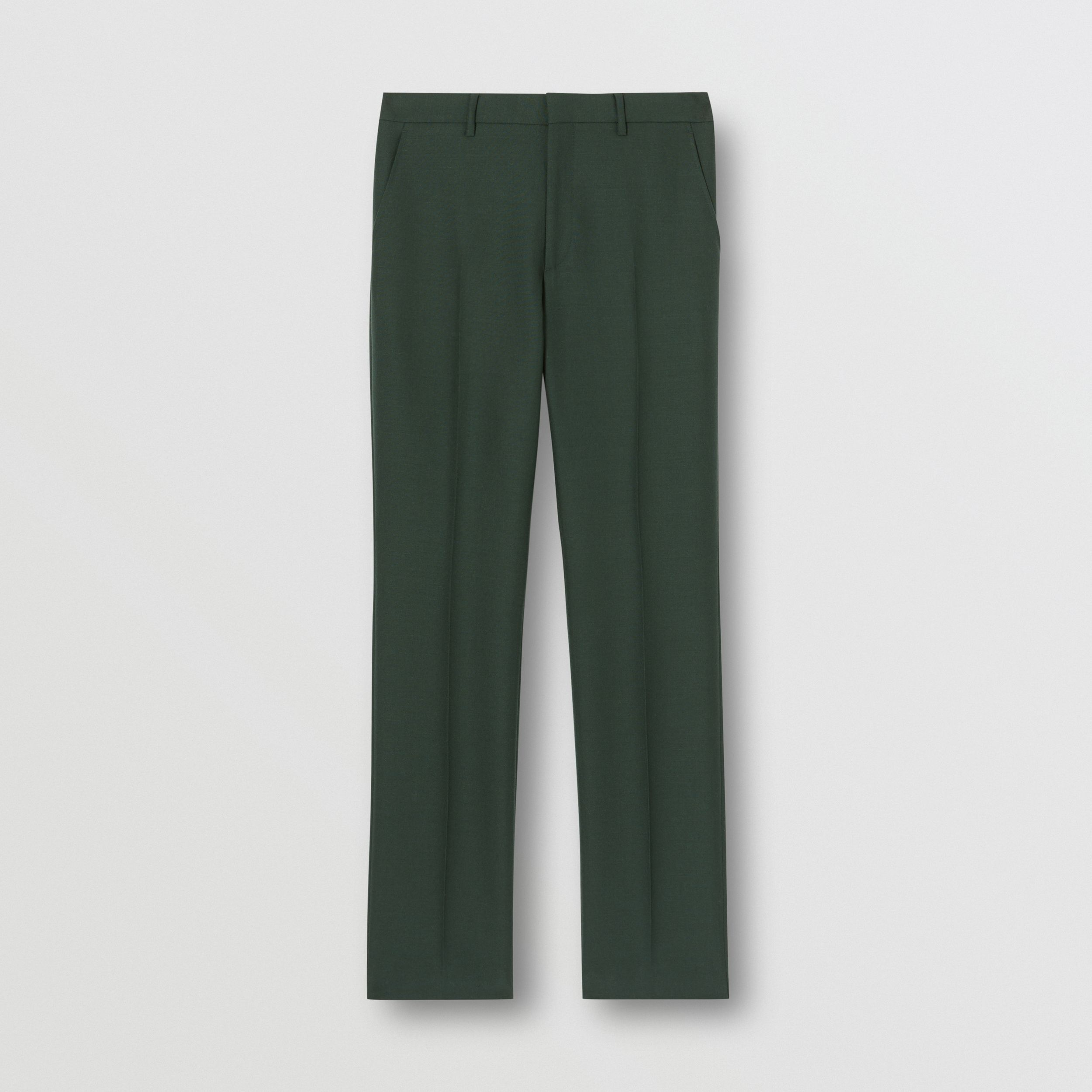 Classic Fit Wool Mohair Tailored Trousers in Dark Forest Green - Men | Burberry - 4