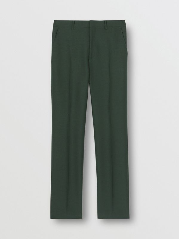 Classic Fit Wool Mohair Tailored Trousers in Dark Forest Green - Men | Burberry - cell image 3