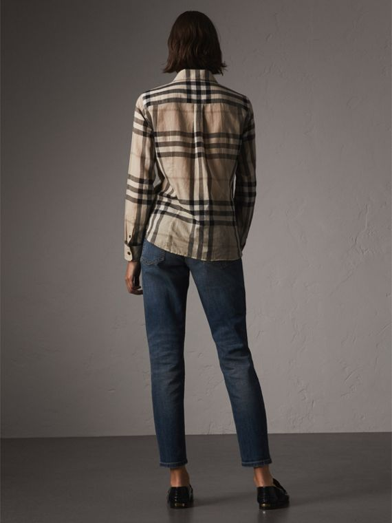 Check Cotton Shirt in Chino - Women | Burberry - cell image 2