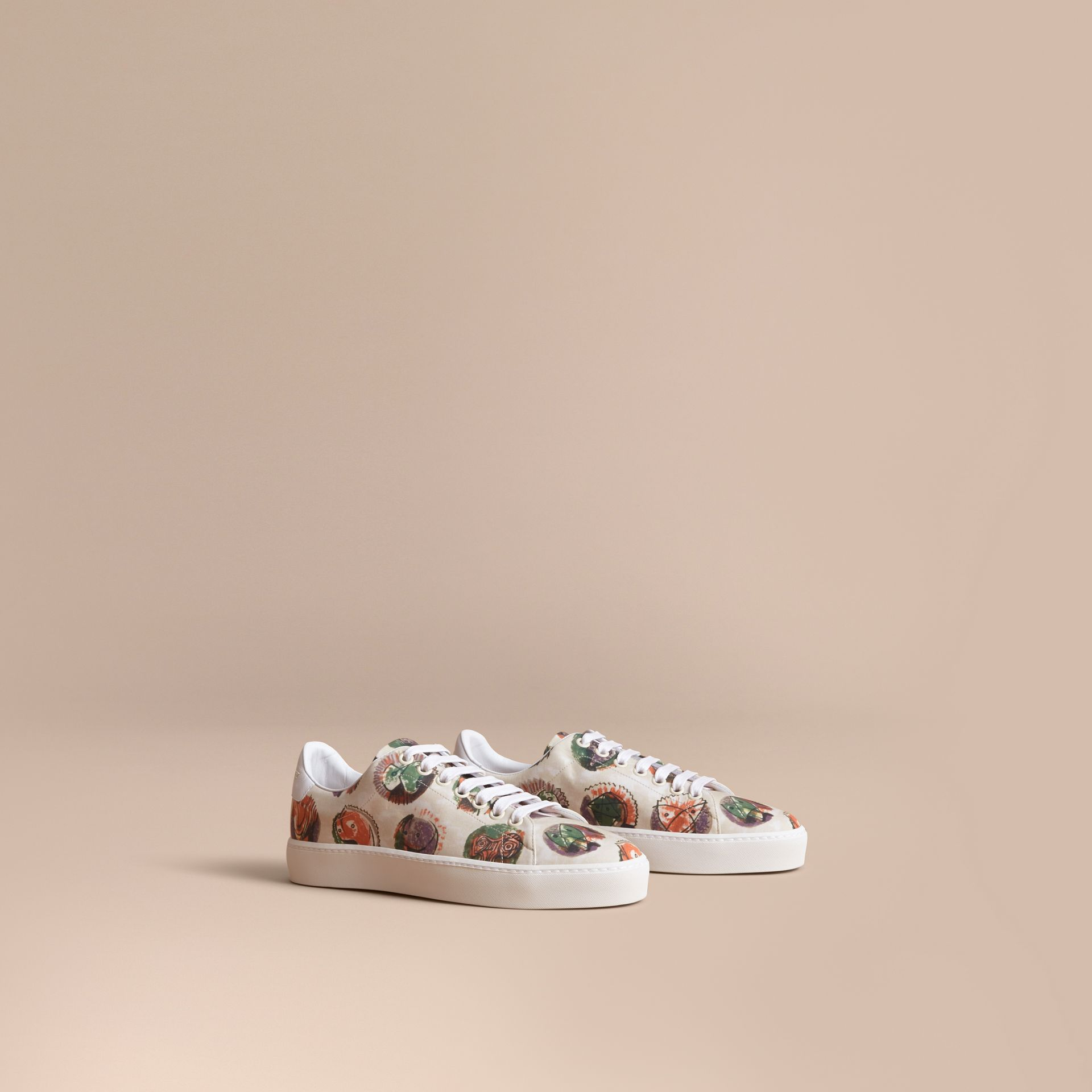 Pallas Heads Print Cotton and Leather Trainers in Natural White - Women | Burberry - gallery image 1