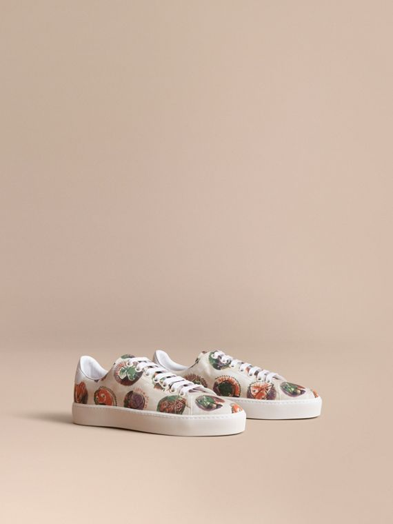 Pallas Heads Print Cotton and Leather Trainers