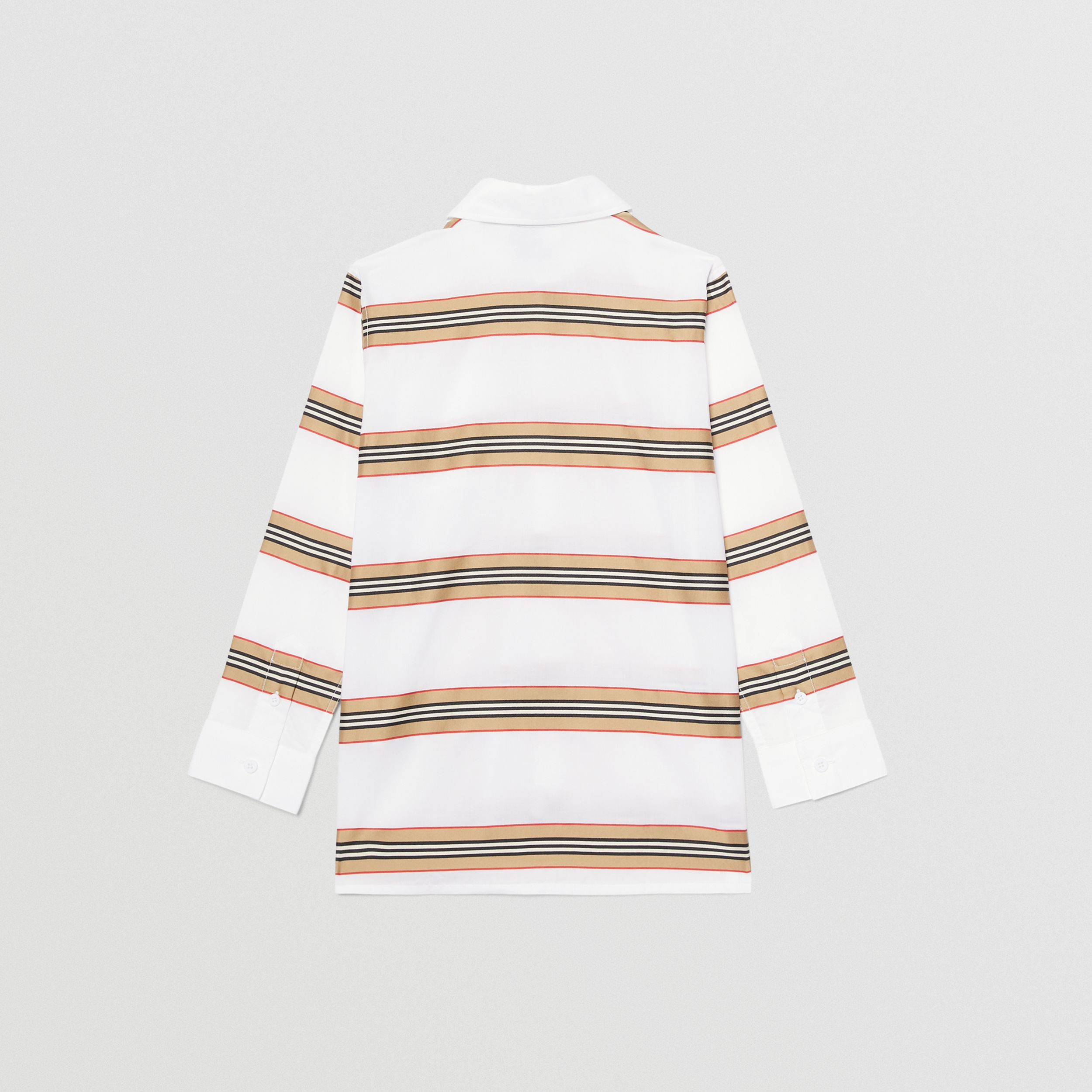 Embroidered Logo Icon Stripe Cotton Shirt in White | Burberry - 4