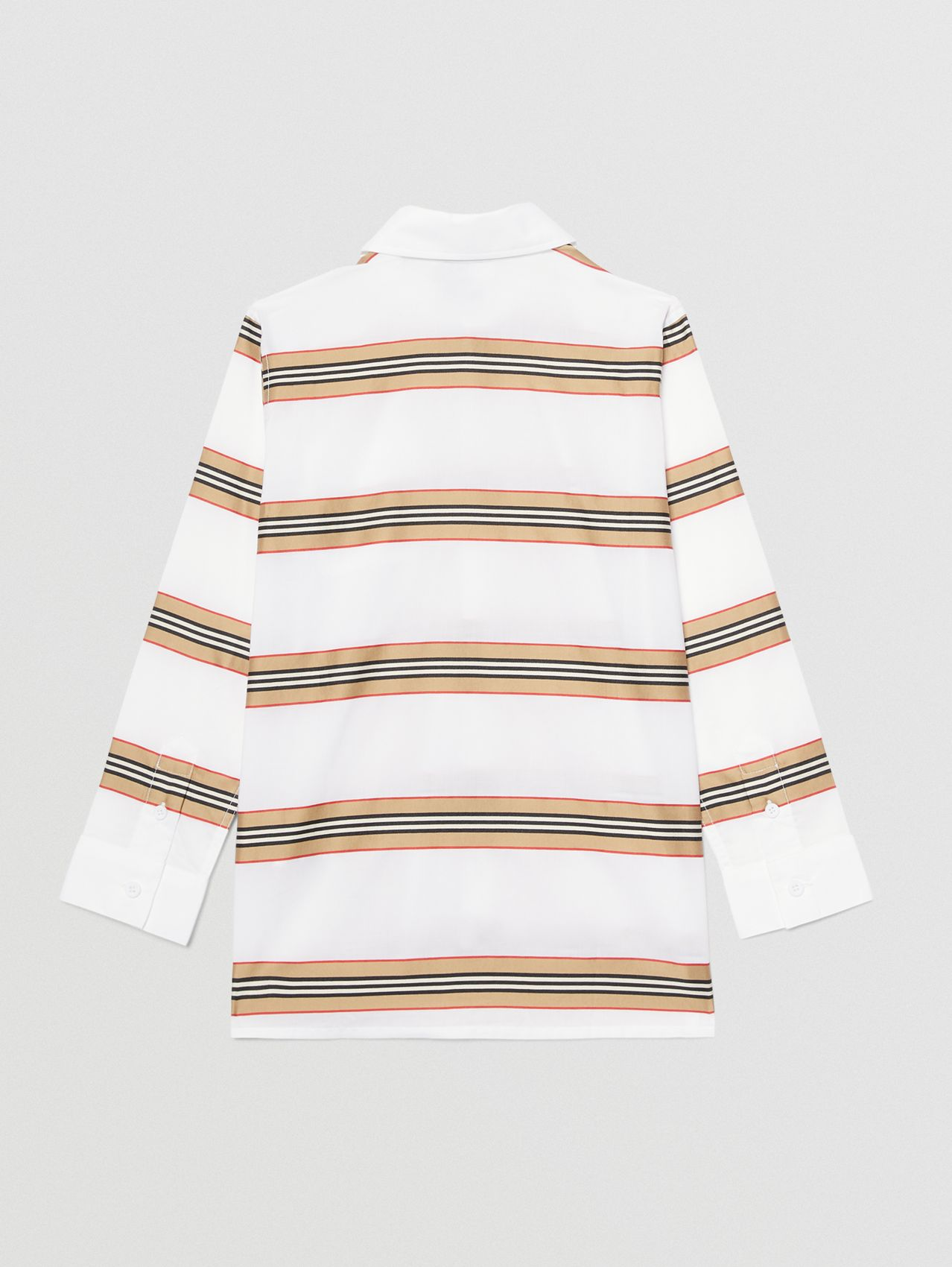 Embroidered Logo Icon Stripe Cotton Shirt in White