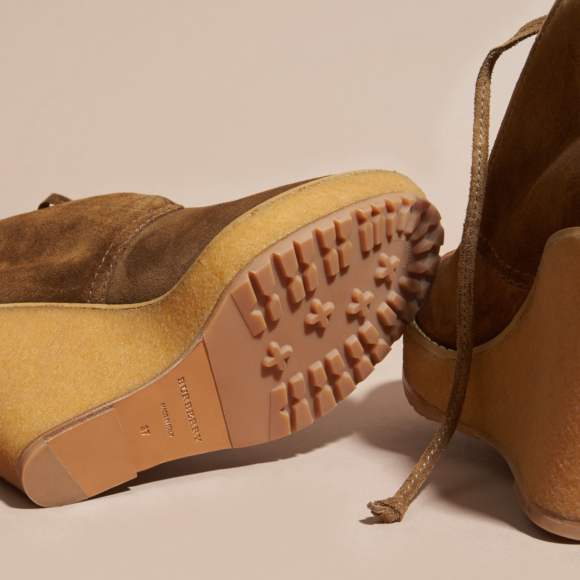 Light oak brown Suede Wedge Ankle Boots - gallery image 5