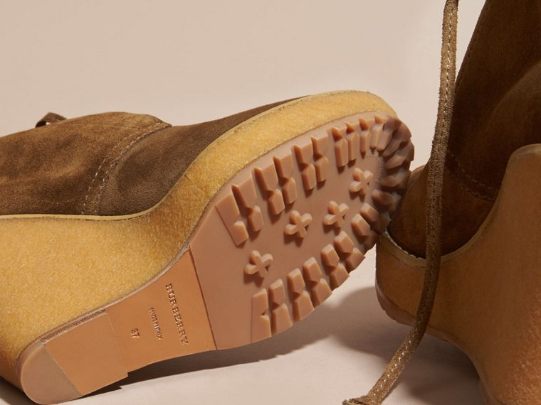 Light oak brown Suede Wedge Ankle Boots - cell image 4