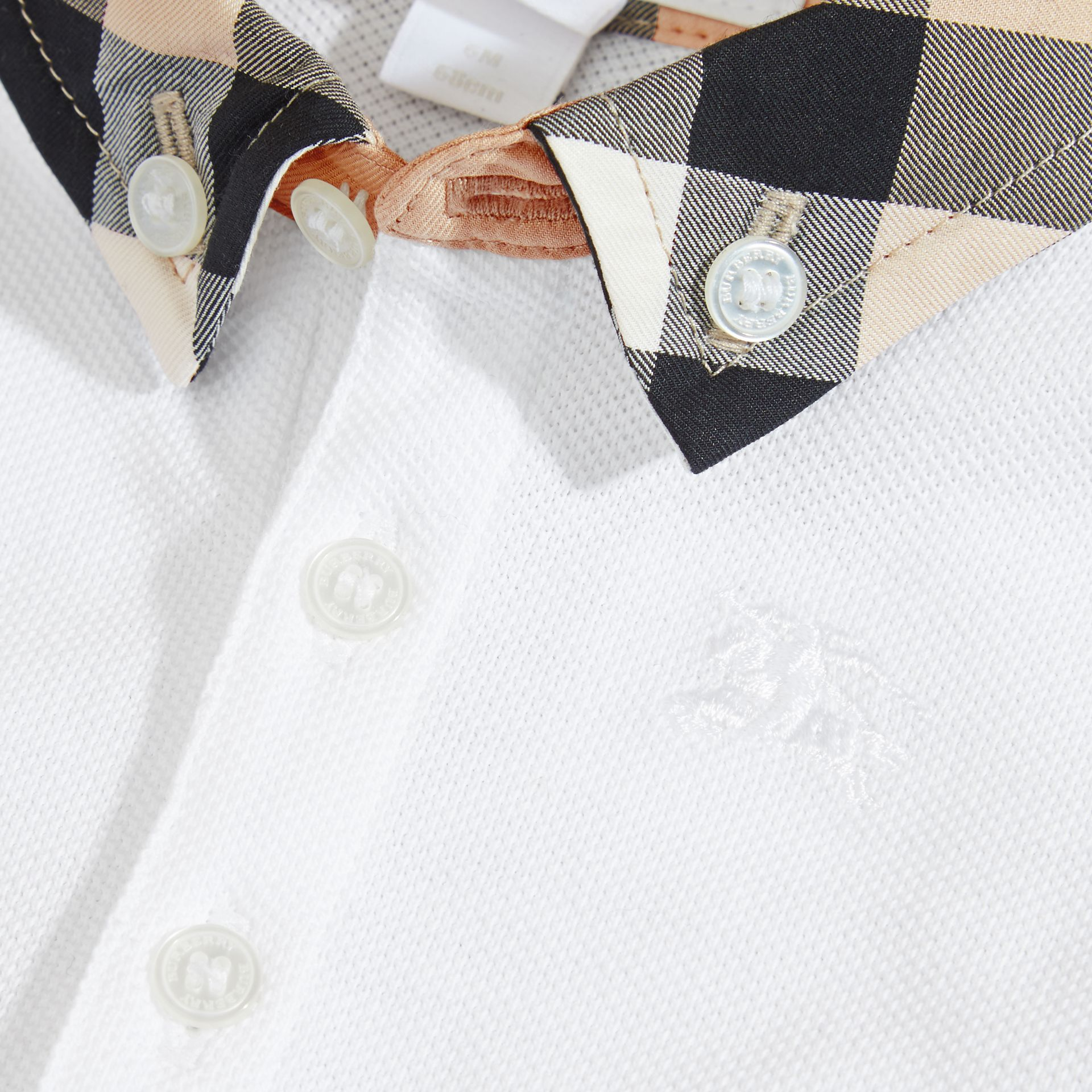Check Collar Cotton Polo Shirt in White | Burberry Australia - gallery image 1