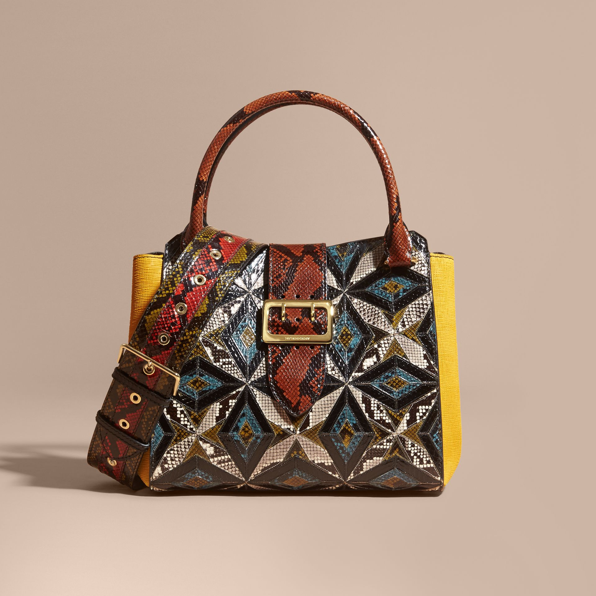 The Medium Buckle Tote in Tiled Snakeskin in Mineral Blue - Women | Burberry - gallery image 0