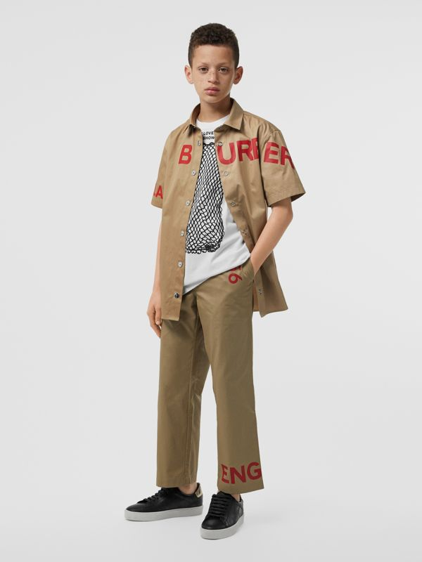 Short-sleeve Horseferry Print Cotton Shirt in Honey | Burberry Hong Kong S.A.R - cell image 3