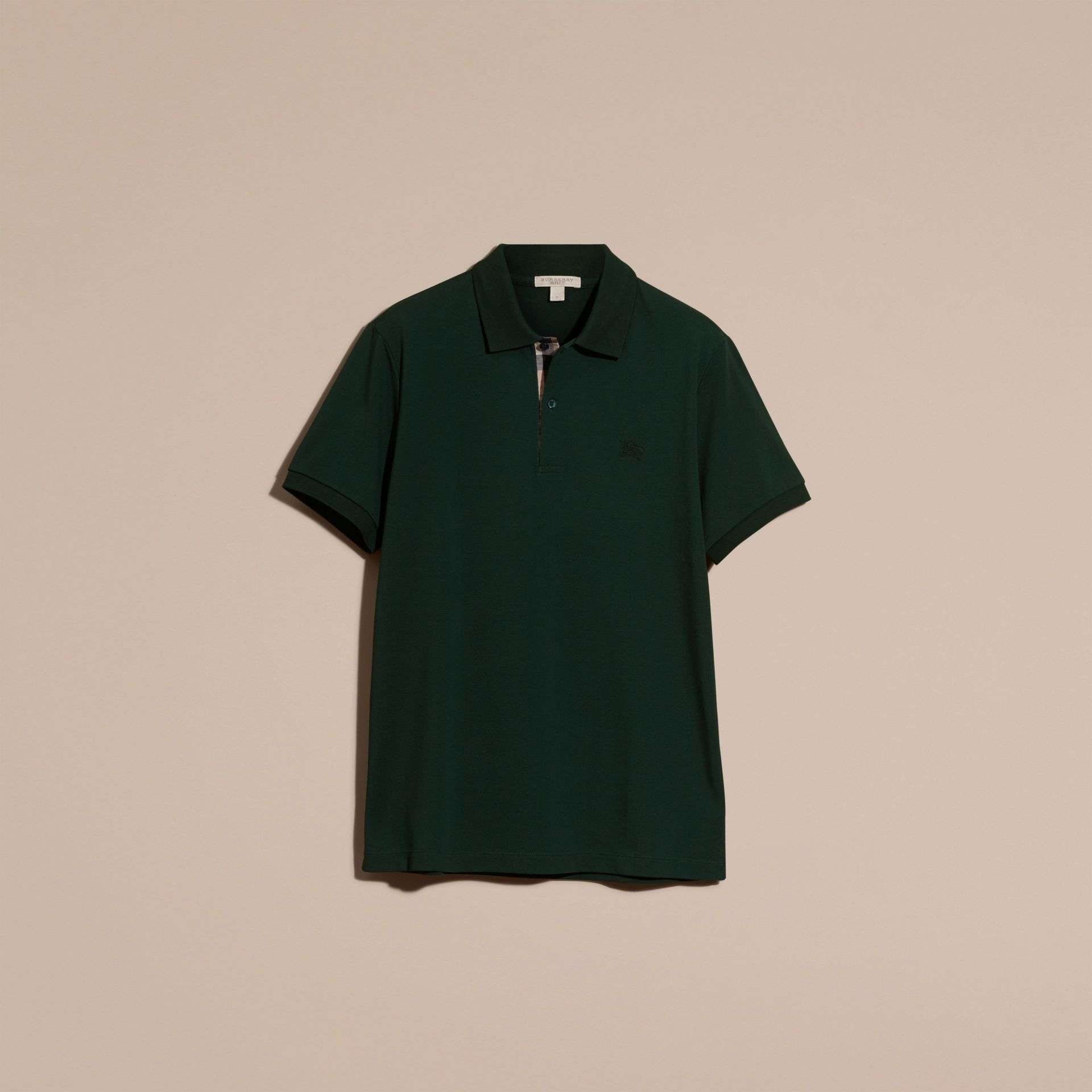 Check Placket Cotton Piqué Polo Shirt Racing Green - gallery image 4