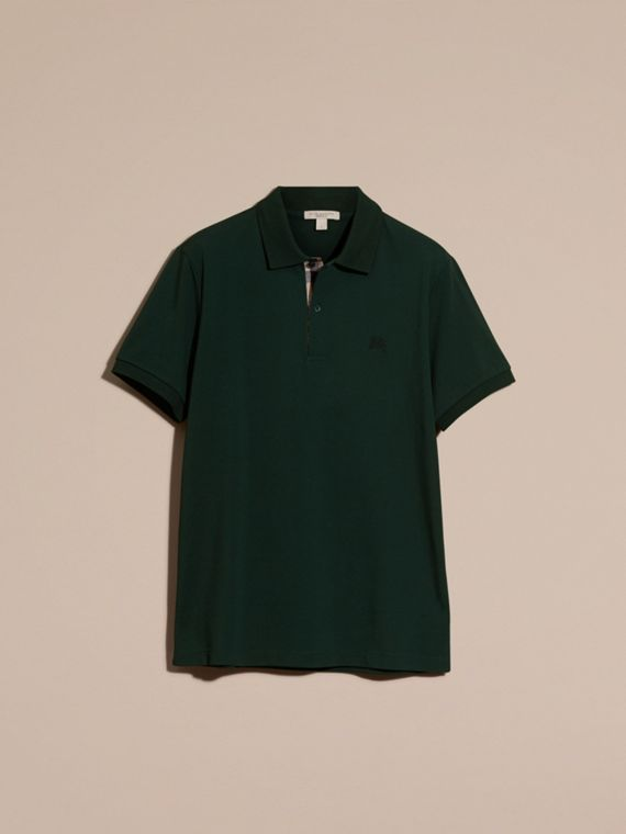 Check Placket Cotton Piqué Polo Shirt Racing Green - cell image 3