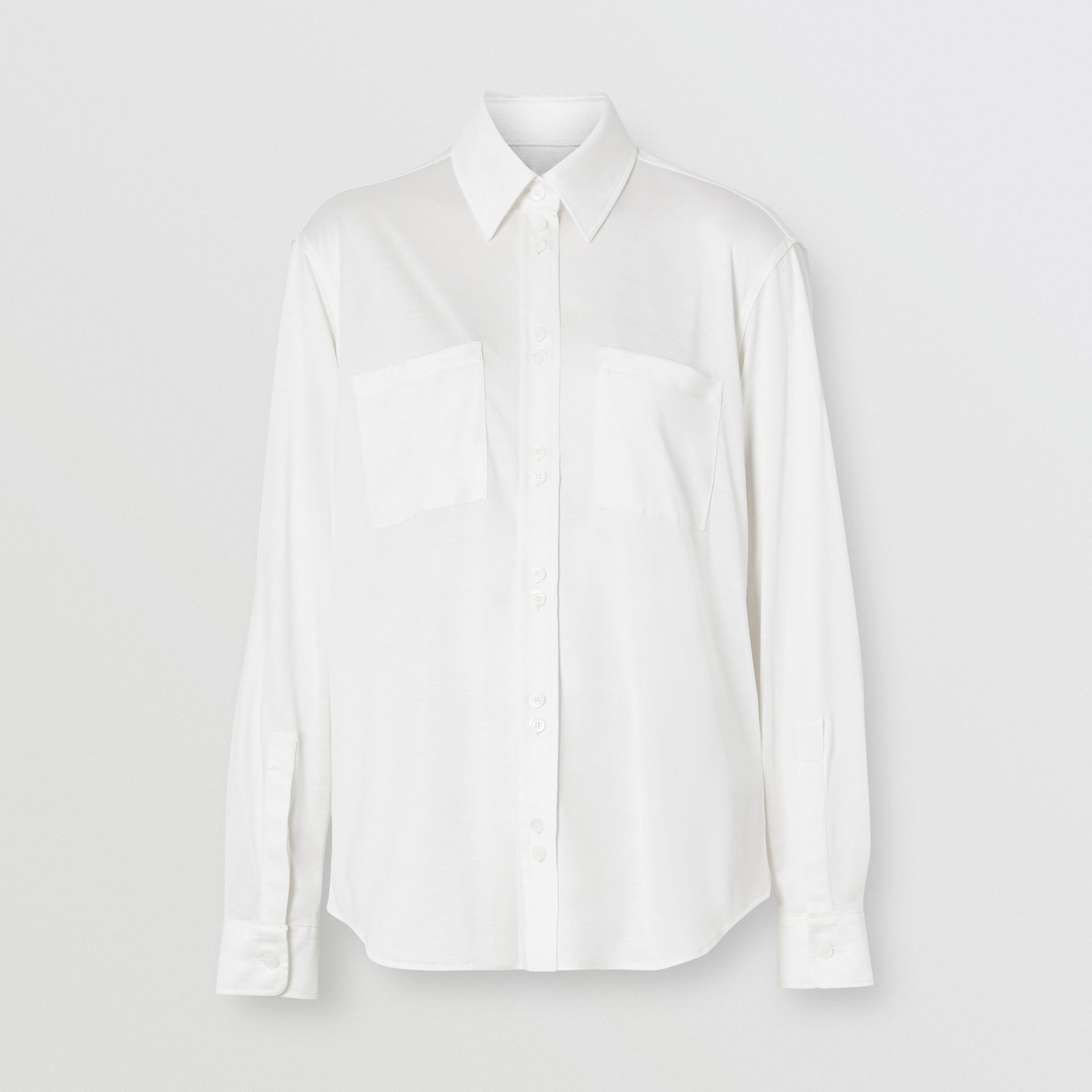 Silk Jersey Oversized Shirt in Natural White - Women | Burberry - gallery image 3