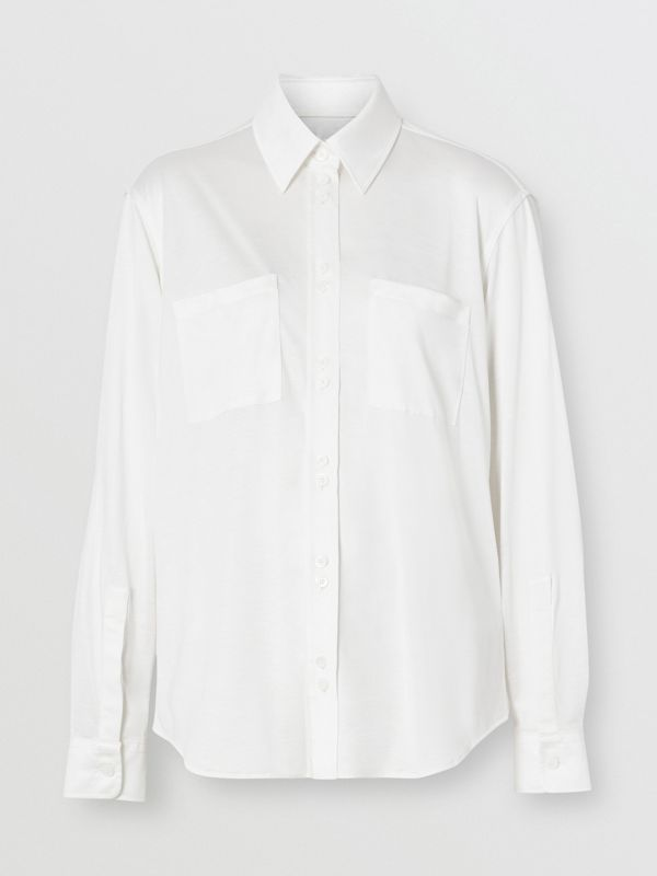 Silk Jersey Oversized Shirt in Natural White - Women | Burberry - cell image 3
