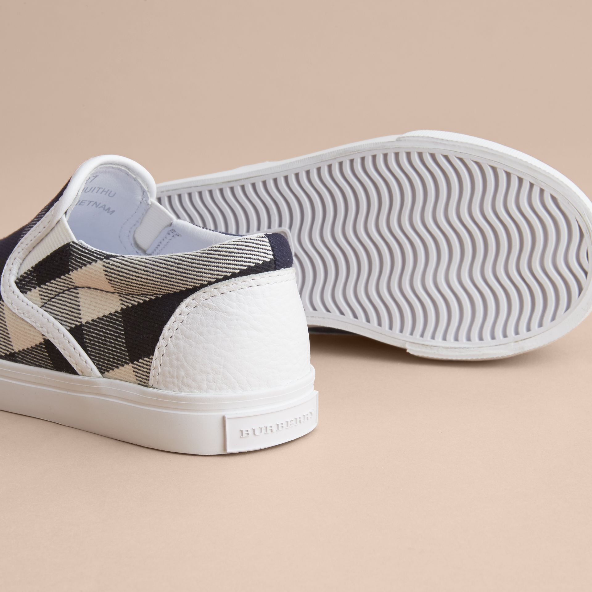 Tonal House Check and Leather Slip-on Trainers in Bright Sapphire | Burberry Singapore - gallery image 2