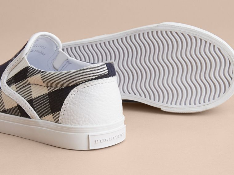 Tonal House Check and Leather Slip-on Trainers in Bright Sapphire | Burberry Singapore - cell image 1