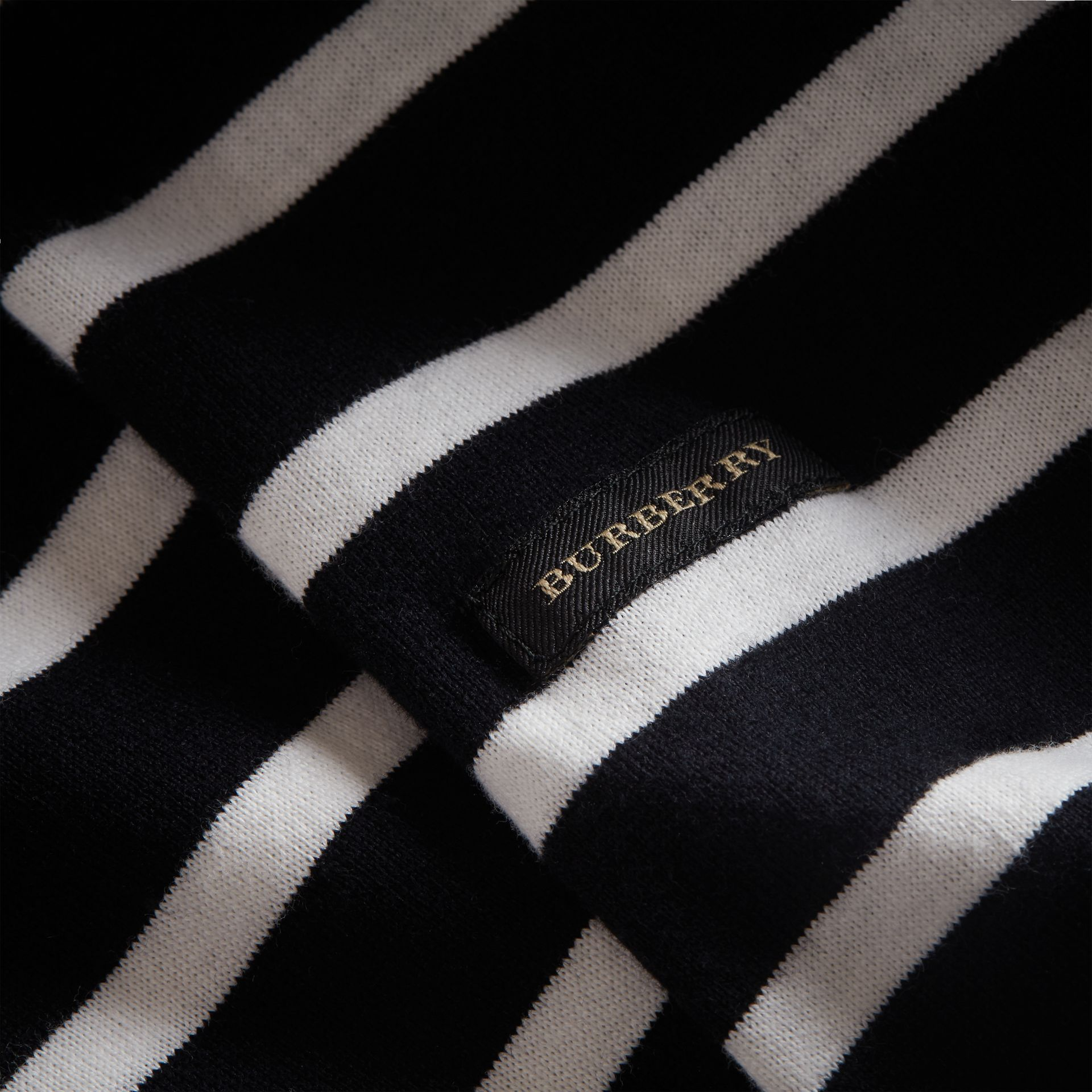 Striped Cotton Oversize T-shirt in Black/white - Men | Burberry - gallery image 2