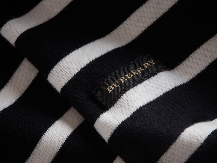 Striped Cotton Oversize T-shirt in Black/white - Men | Burberry - cell image 1