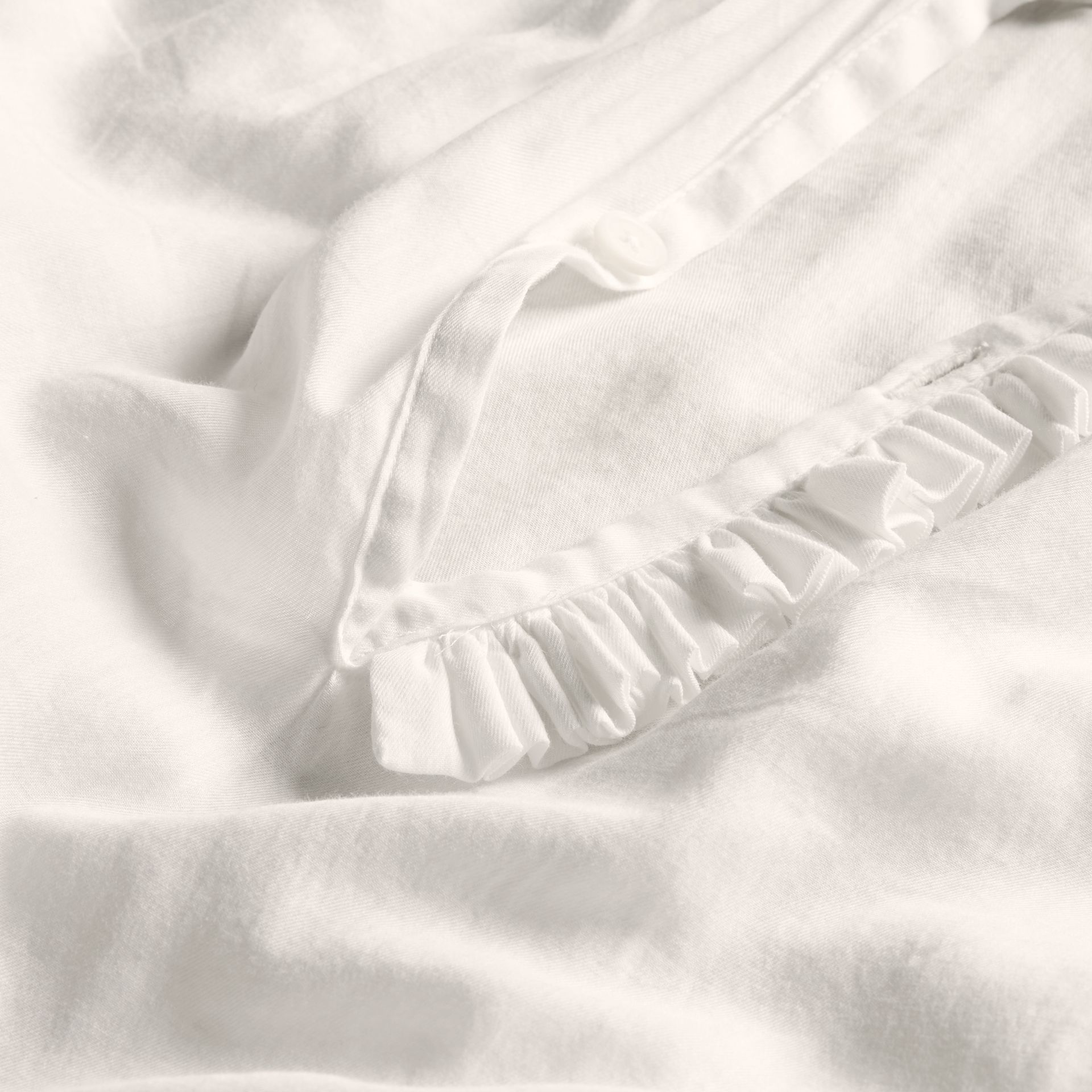 White Ruffle Detail Cotton Voile Tunic - gallery image 2