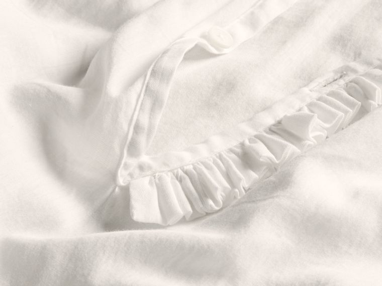 White Ruffle Detail Cotton Voile Tunic - cell image 1