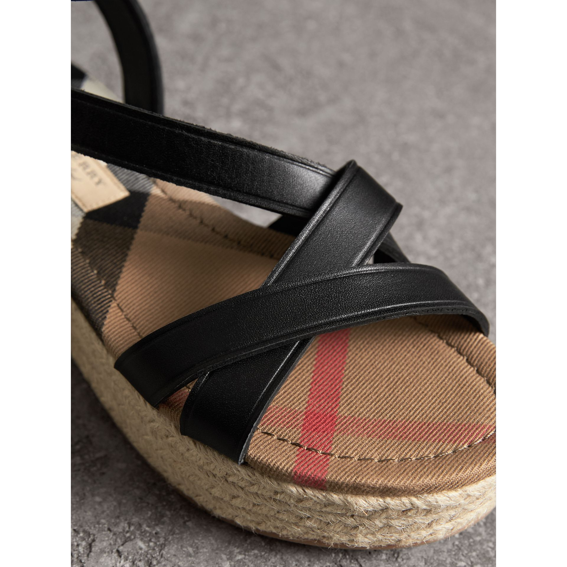 Leather and House Check Espadrille Sandals in Black - Women | Burberry - gallery image 2