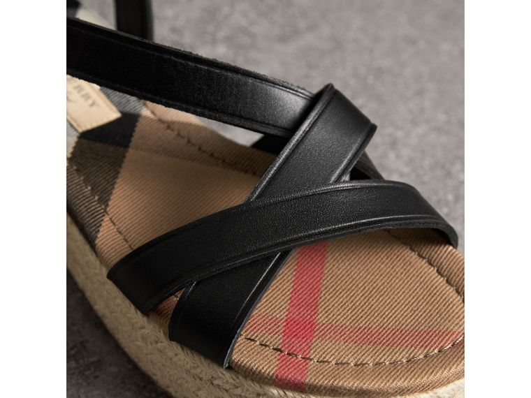 Leather and House Check Espadrille Sandals in Black - Women | Burberry - cell image 1