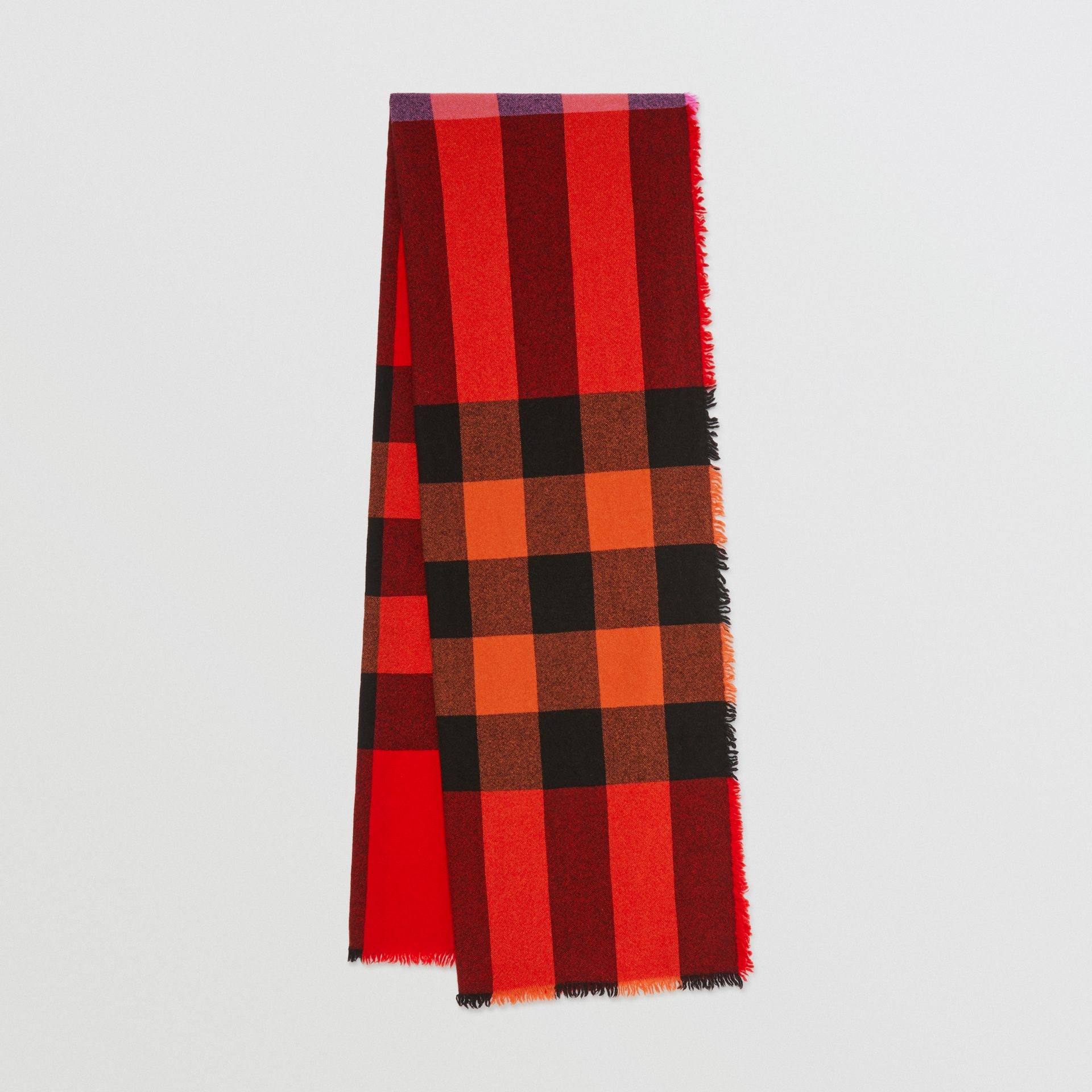 Fringed Check Wool Cashmere Scarf in Bright Orange Red | Burberry - gallery image 0