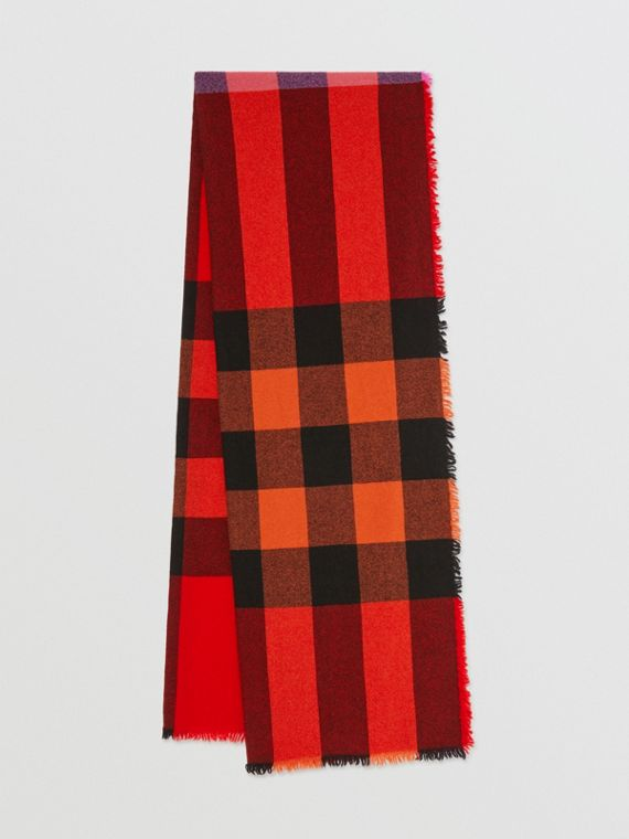 Fringed Check Wool Cashmere Scarf in Bright Orange Red