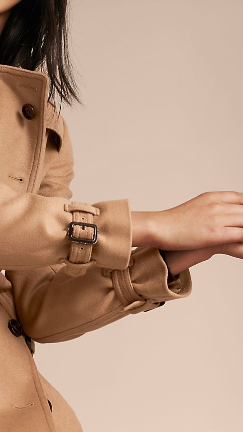 Camel Wool Cashmere Trench Coat - Image 6