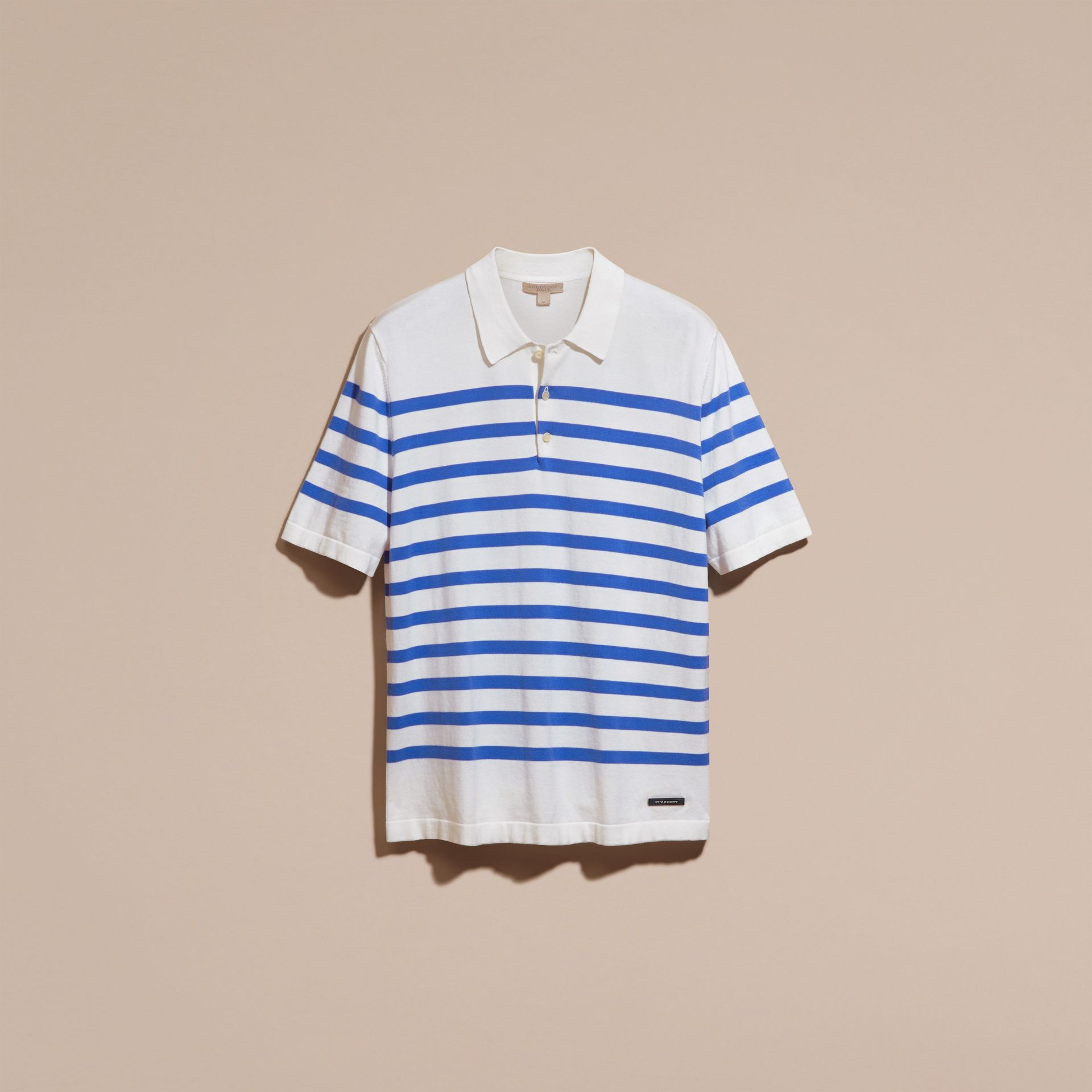 White/bright hydrangea blue Striped Cotton Polo Shirt White/bright Hydrangea Blue - gallery image 4