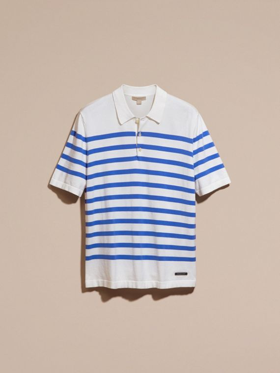 White/bright hydrangea blue Striped Cotton Polo Shirt White/bright Hydrangea Blue - cell image 3