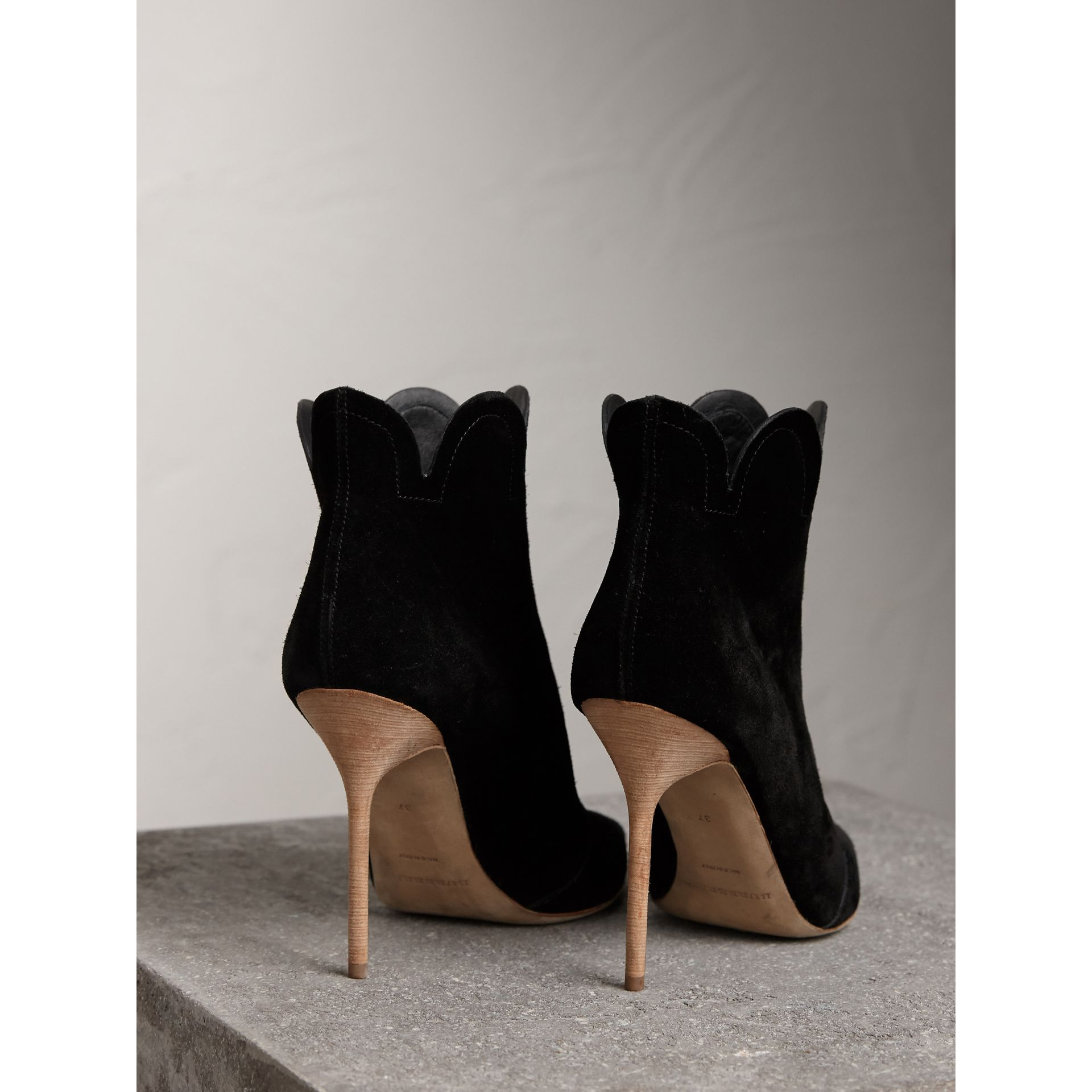 Scalloped Suede Ankle Boots in Black | Burberry United States - gallery image 3