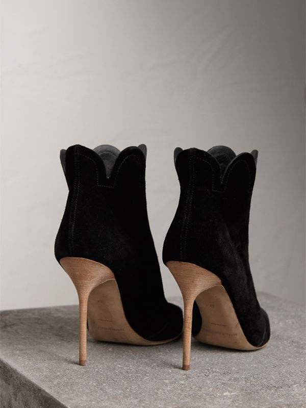Scalloped Suede Ankle Boots in Black | Burberry United States - cell image 3