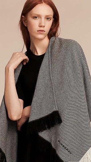 Fringed Wool Cashmere Poncho