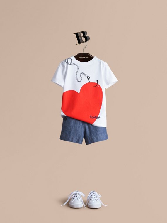 Hooked Heart Motif Cotton T-shirt in White - Girl | Burberry