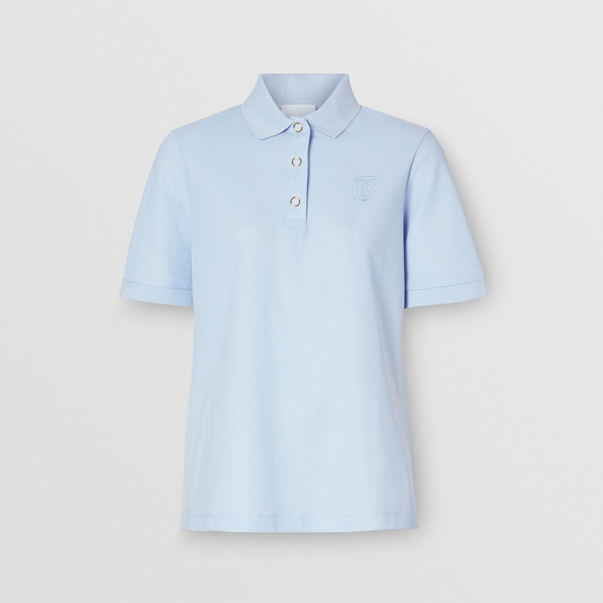 Monogram Motif Cotton Piqué Polo Shirt in Pale Blue - Women | Burberry - gallery image 3