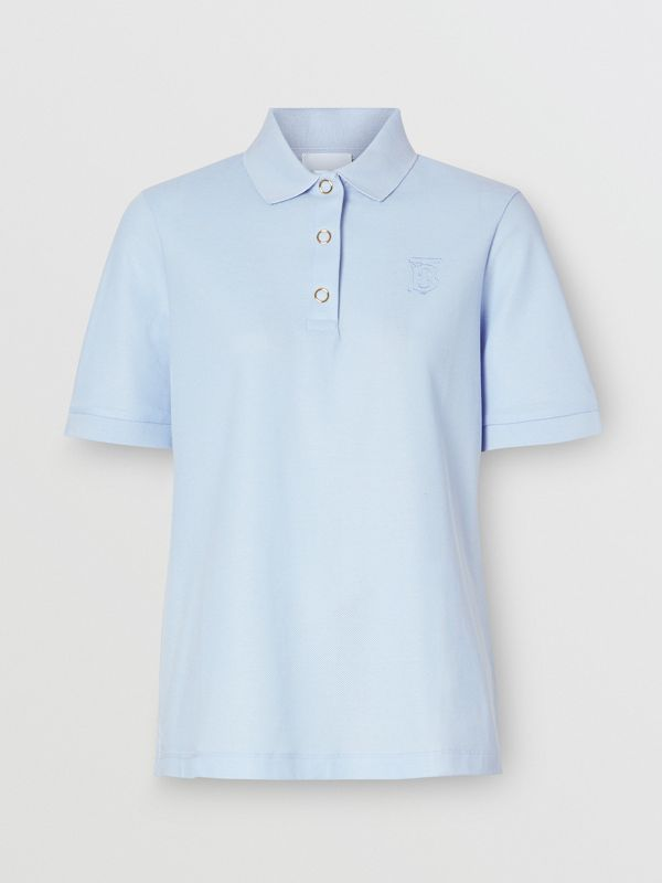 Monogram Motif Cotton Piqué Polo Shirt in Pale Blue - Women | Burberry United Kingdom - cell image 3