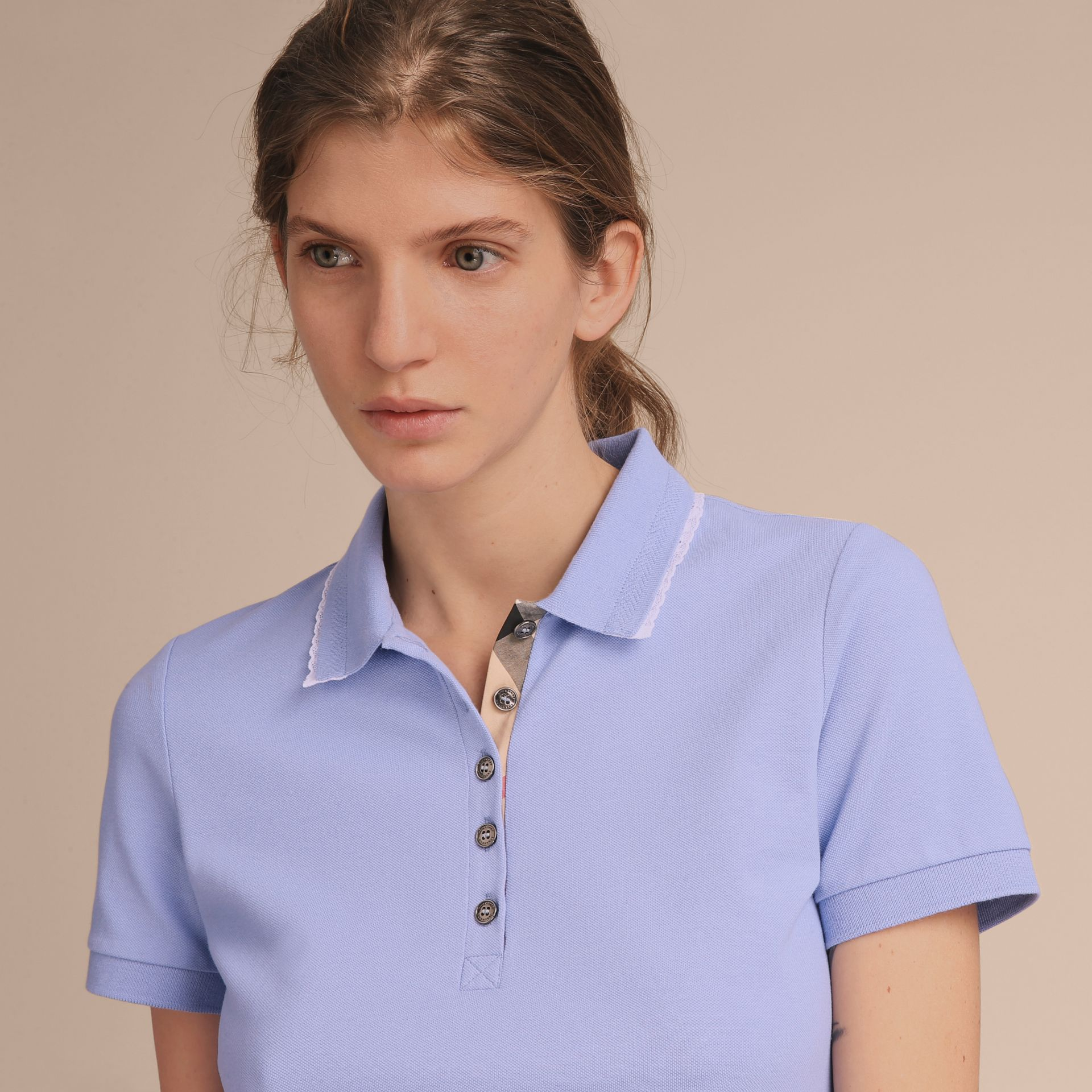 Lace Trim Cotton Blend Polo Shirt with Check Detail in Pale Cornflower Blue - Women | Burberry - gallery image 6