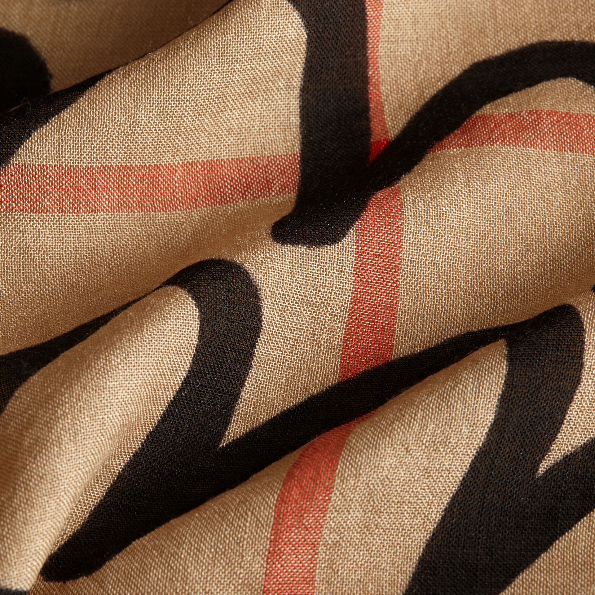 Check Wool Silk Scarf with Trompe L'oeil Print in Camel/black - Women | Burberry Hong Kong - gallery image 2