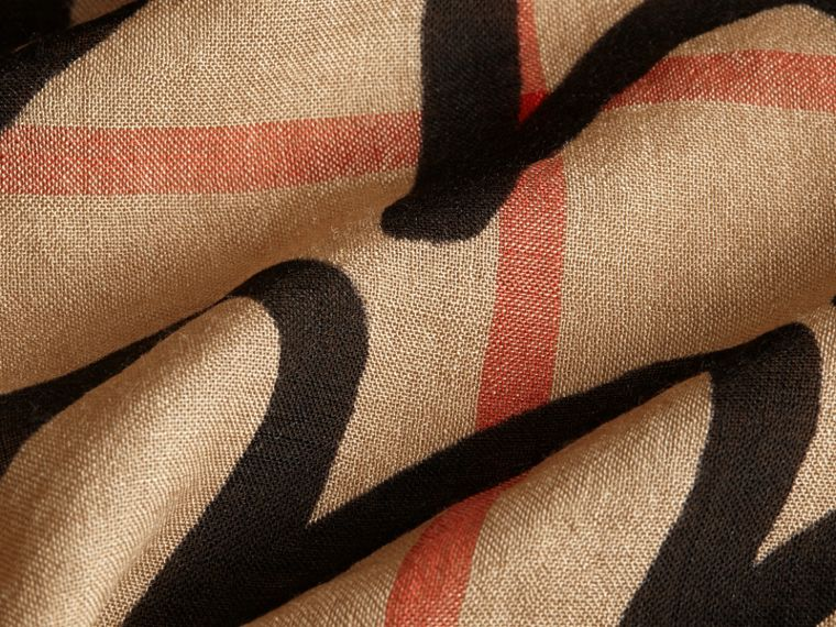 Check Wool Silk Scarf with Trompe L'oeil Print in Camel/black - Women | Burberry - cell image 1