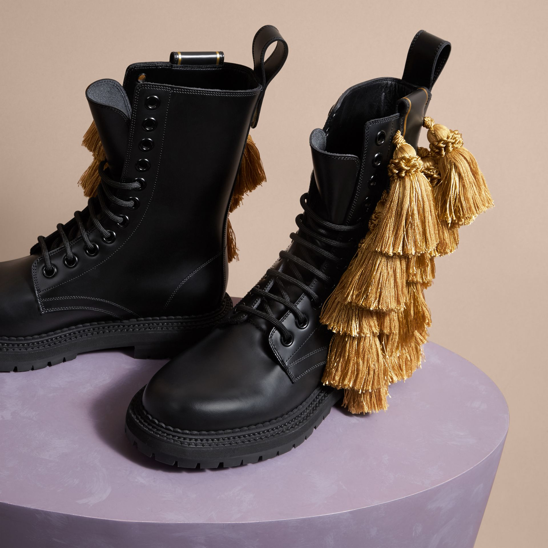 Black Tassel Detail Leather Army Boots - gallery image 3