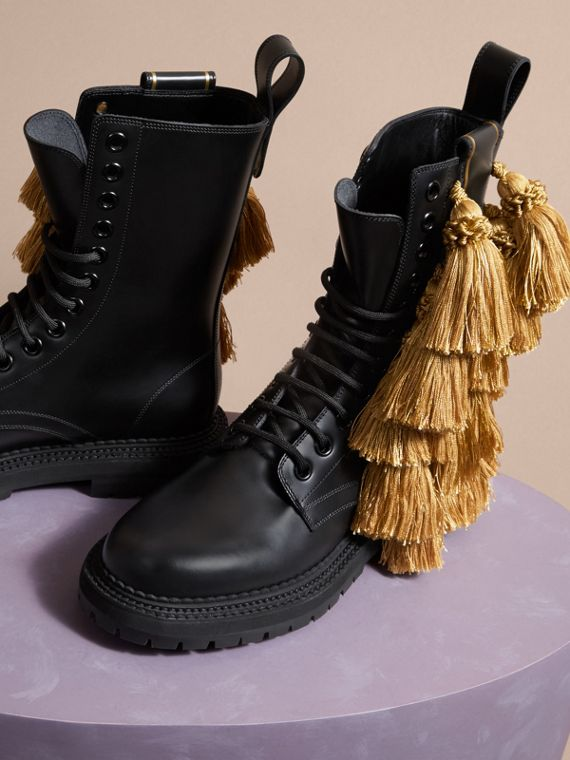 Black Tassel Detail Leather Army Boots - cell image 2