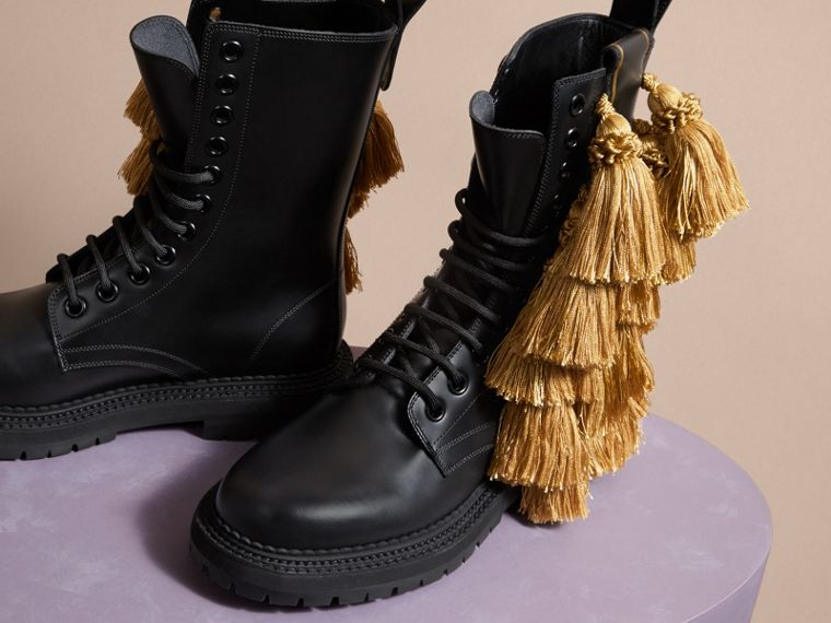 Tassel Detail Leather Army Boots