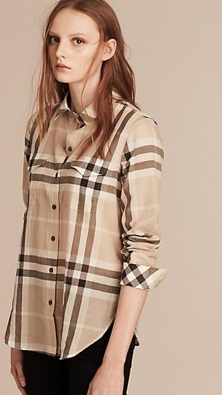 Camisa ajustada en algodón con motivo de checks