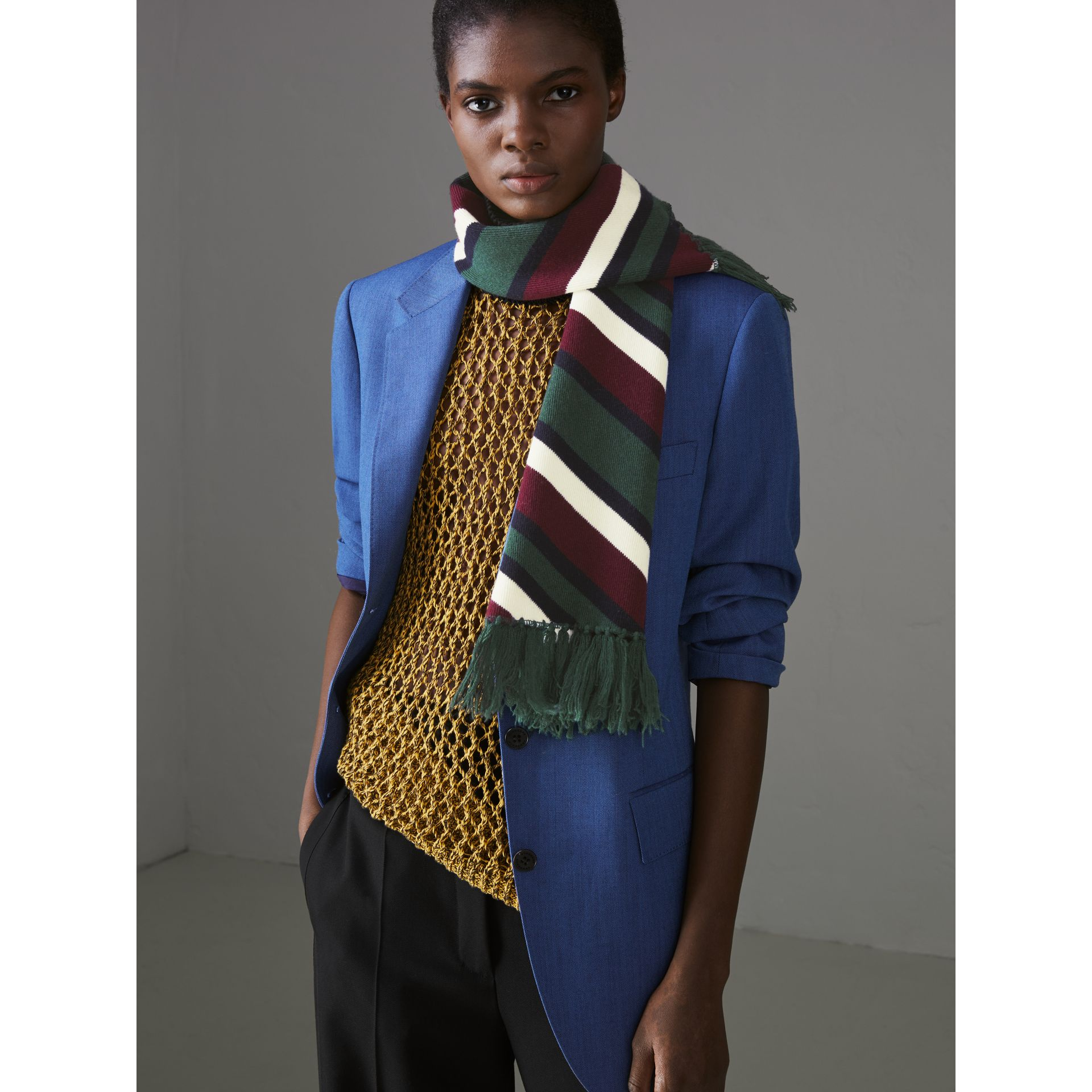 Tri-tone Striped Wool Cashmere Scarf in Olive | Burberry - gallery image 3